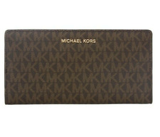 Michael Kors Jet Set Signature LG Card Case Carryall Wallet Brown / Acorn