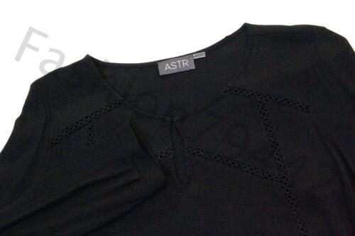 Liseré Manches Astr Noir Cercles Crocheté Pour Ajouré Femmes Haut Chemisier À Longues vvFxqOX1