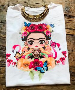 Frida Kahlo flowers flaming Summer Woman T-shirt Print Short Sleeve white BLOUSE