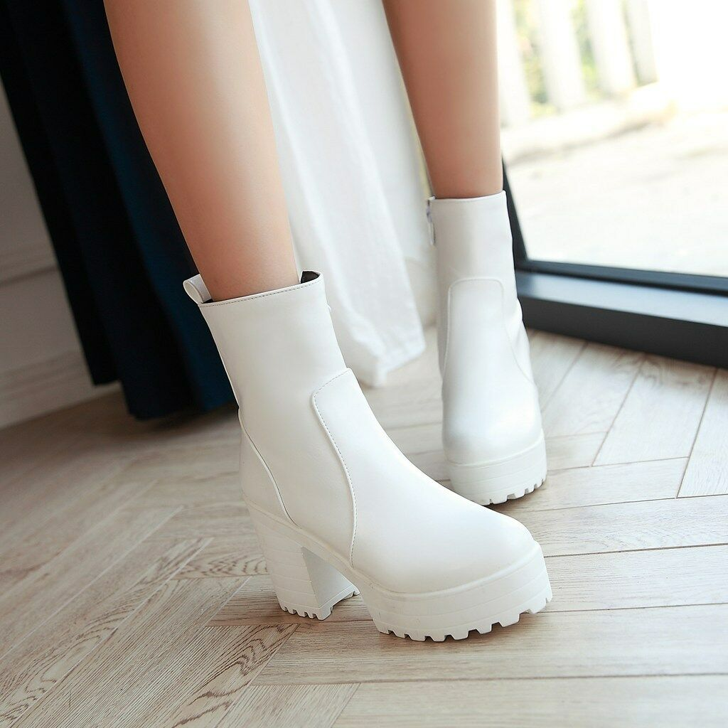 New Womens Shoes Riding Chunky HIgh Heels Round Toe High Top Ankle Boots Pumps