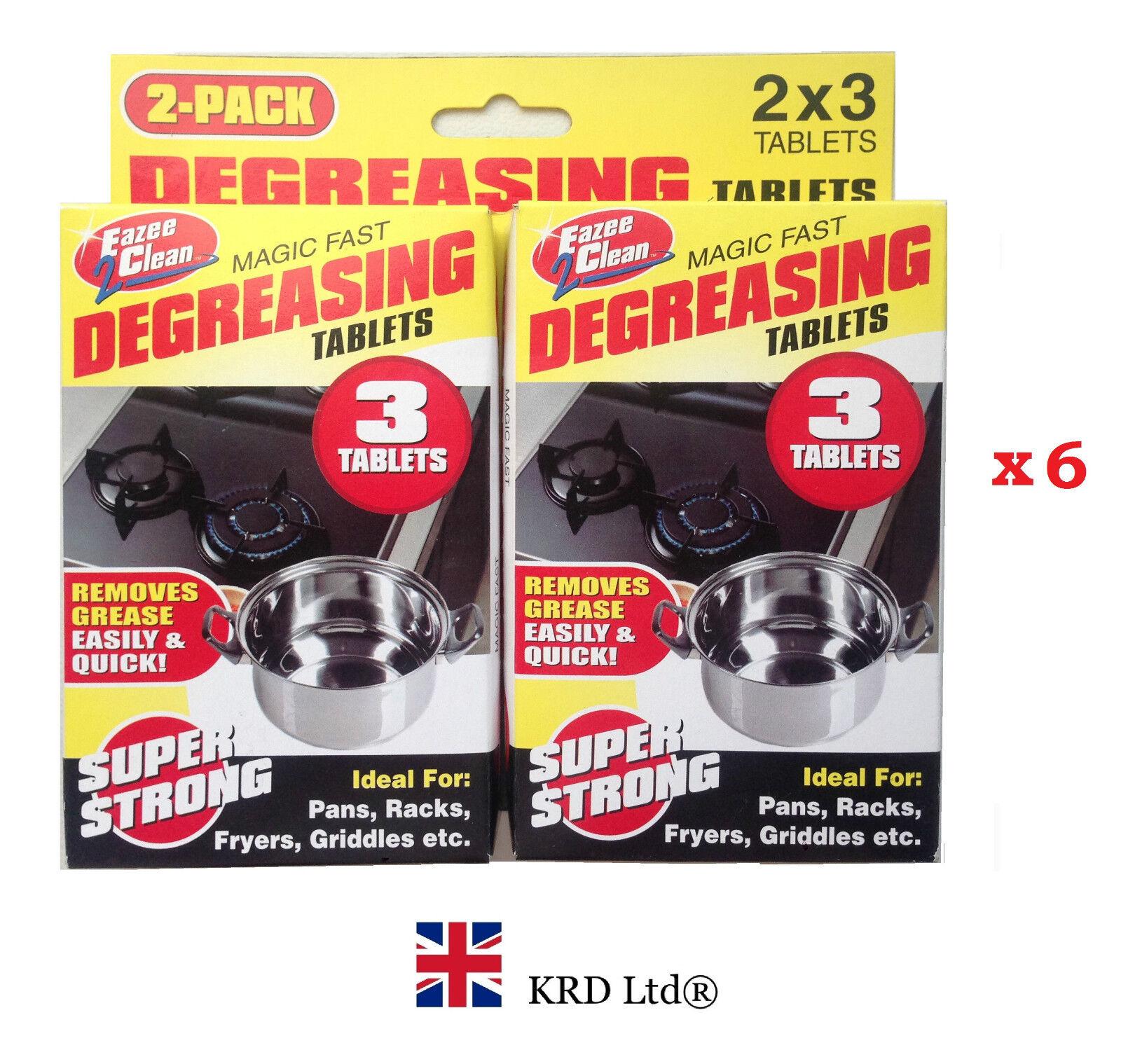6 x degreasing tablets kitchen cleaner pots oven stove grease oil fat remover ebay. Black Bedroom Furniture Sets. Home Design Ideas