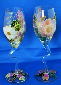 Pair-of-Curved-Stem-Wine-Glasses-Swan-Neck-Hand-Painted-Flowers-Stemmed-Glass-x2