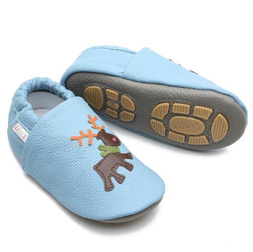 Liya/'s Krabbelschuhe Hausschuhe Lederpuschen Babyschuhe #672 Elch in babyblau