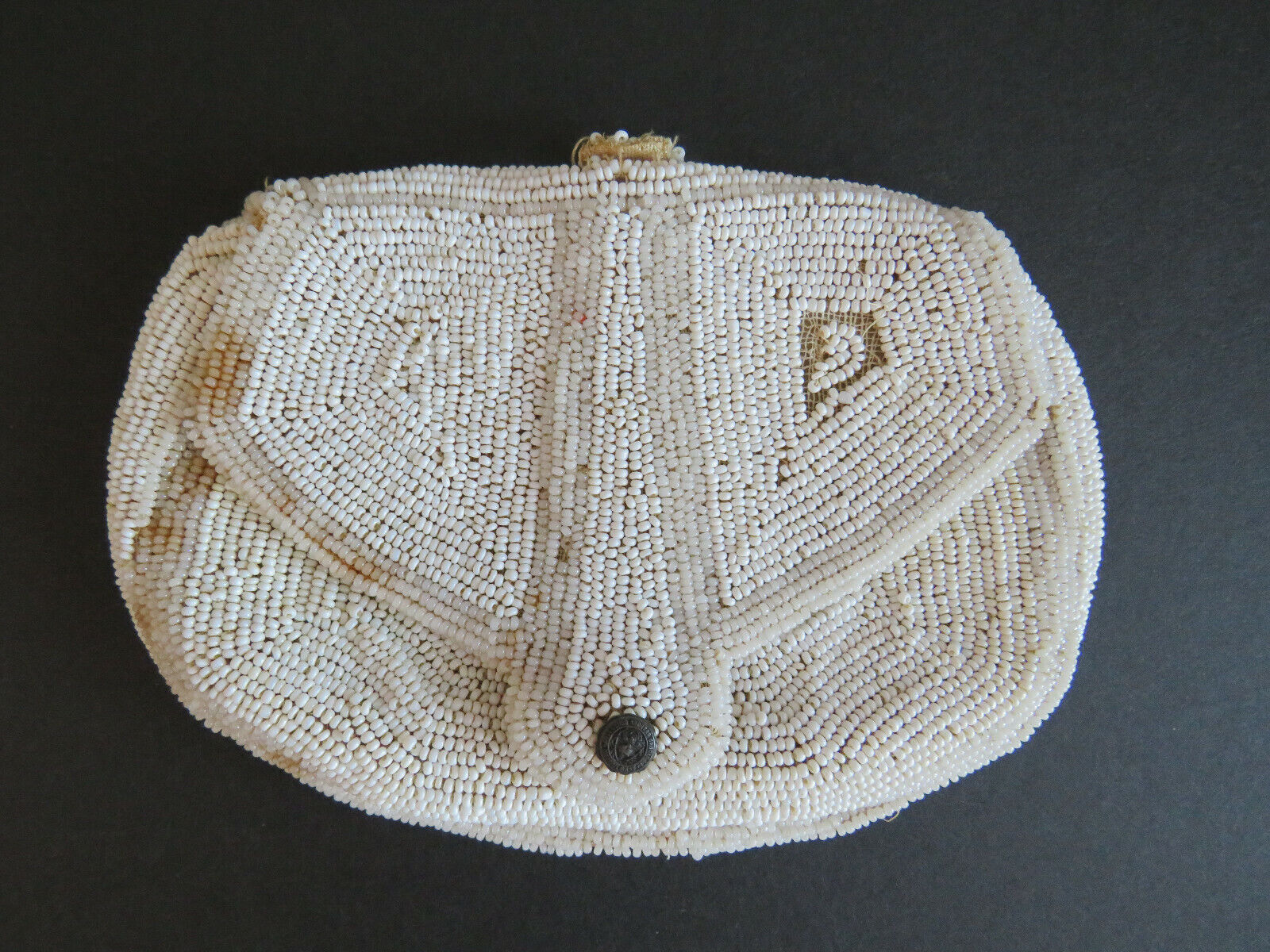 Antique White Beaded Dance Bag Purse with Hand Strap Snap Closure Collectible