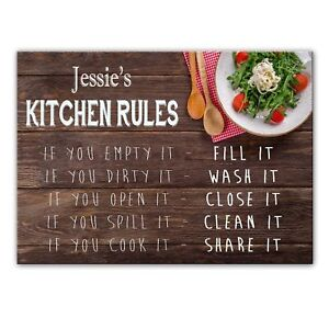 Details About Jessie S Kitchen Rules Glass Cutting Board Worktop Saver Gift For Jessie