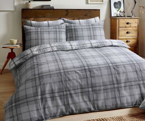 Tartan Check Grey Quilt Cover 100/% Brushed Cotton Bedding Set With Pillowcases