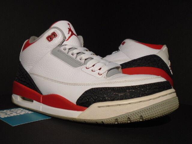 Nike Air Jordan III 3 Retro WHITE FIRE RED CEMENT GREY BLACK 136064-120 OG 10.5