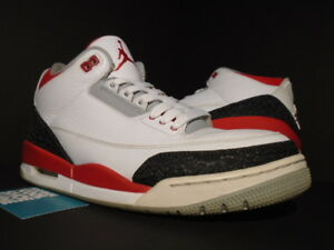 sale retailer 44c5a 59a94 Image is loading Nike-Air-Jordan-III-3-Retro-WHITE-FIRE-