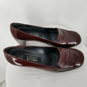 Stuart-Weitzman-Women-s-Brown-Patent-Leather-Block-Heel-Loafer-Pumps-Size-8-5B