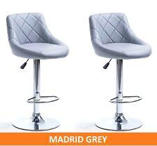 """2 x  GREY """"MADRID"""" GAS LIFT BAR STOOLS, BREAKFAST KITCHEN BAR"""