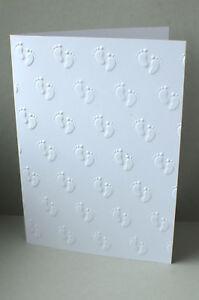 Details Zu 10 Karten Weiß Geprägt Baby Taufe Geburt Handarbeit Basteln Einladung