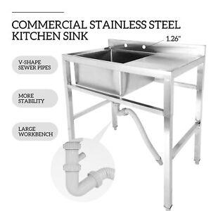 1-Compartment-Stainless-Steel-Prep-Sink-Utility-Sink-Kitchen-Sink-W-Drain-Board
