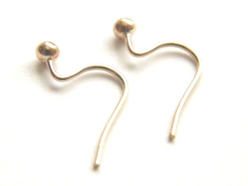 Pair of 9ct Yellow Gold Ear Wires with  3mm Bead for Dangle,Drop Earrings