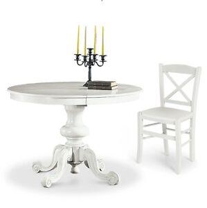 tavolo rotondo apribile cucina shabby rustico bianco o