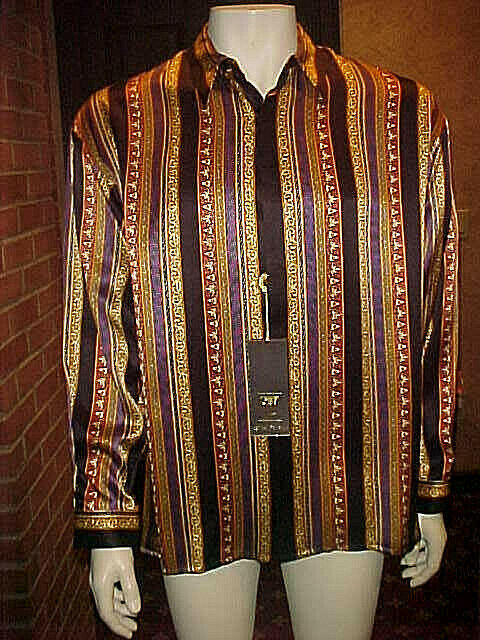 NWT RARE MEN VINTAGE CREME DE SILK BEAUTIFUL SILK SHIRT STYLE TRAIL 9059 XLARGE.