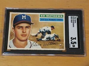 1956-Topps-107-Eddie-Mathews-Gray-Back-SGC-3-5-New-Label-Graded-PSA-BVS