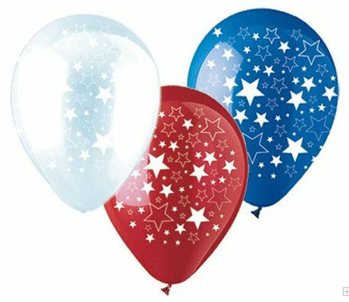 "10 pc 11/"" Patriotic Stars Latex Balloons Veterans Day Flag Memorial 4th of July"