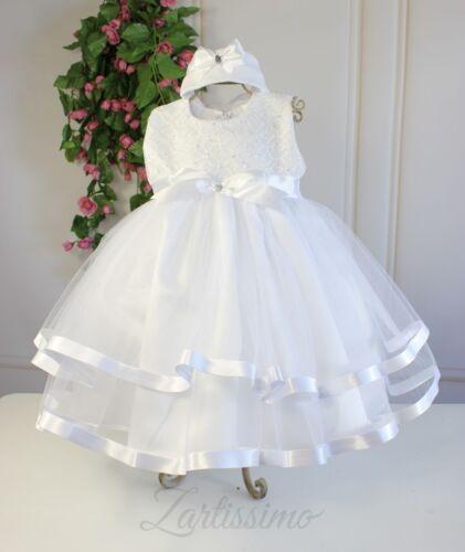 Rebajas/% taufkleid con cinta del pelo blanco-plata bebé vestido punta tul 62,68,74,80,86