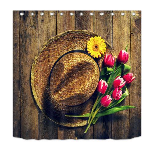 Floral Western Cowboy Tulip Waterproof Fabric Bath Shower Curtain /&Hooks Mat Set