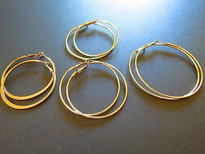 4 pairs gold tone Hoop pierce Earrings   each different                       iv