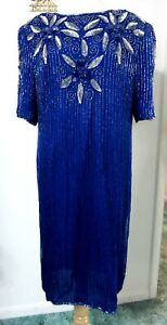 1X-Royal-Blue-FULLY-BEADED-Dress-Plus-Cocktail-Evening-Cruise-Silver-Sequins