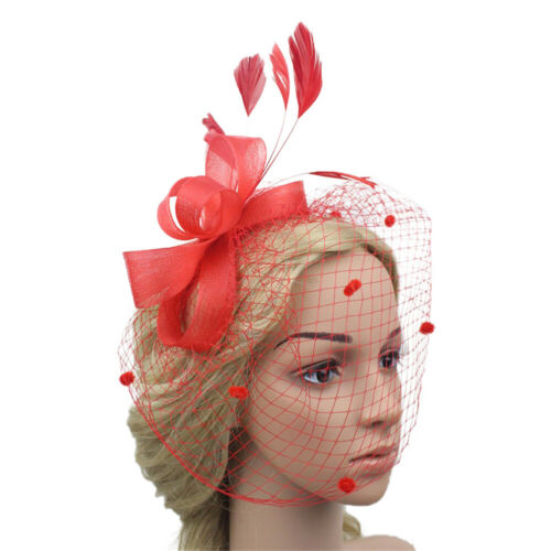 Women Wedding Party Prom Hair Clip Feather Fascinator Hat Mesh Net Veil Charming