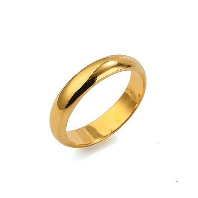 Wedding Ring 18K Yellow Gold Filled 4mm Smooth Band Fashion Jewelry Size Pick