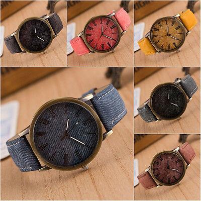 Men Women Cowboy Denim Leather Analog Bracelet Watch Quartz Wrist Watch Jewelry