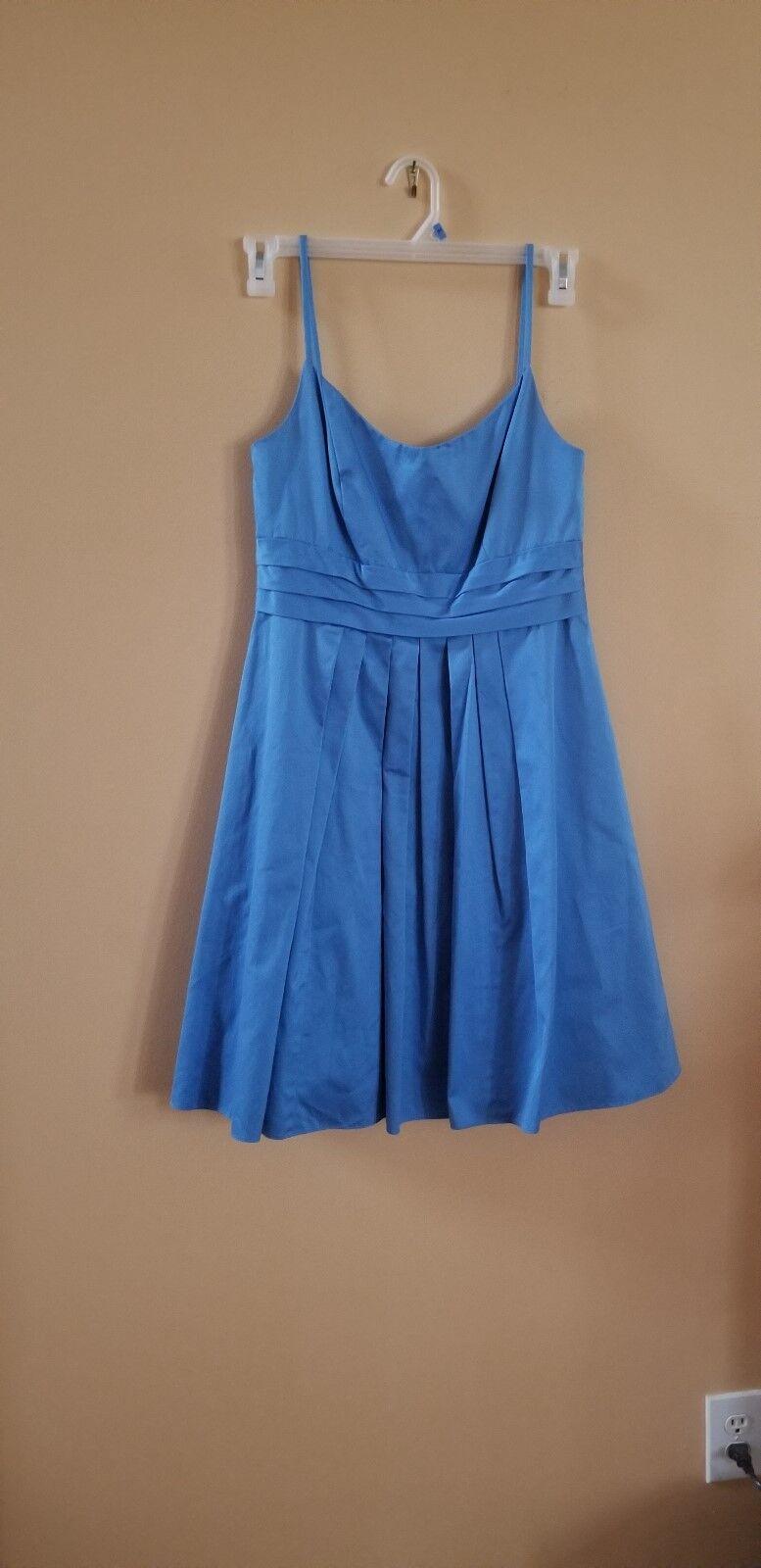 David's Bridal size 8 women prom/evening/party dress 100% cotton blue