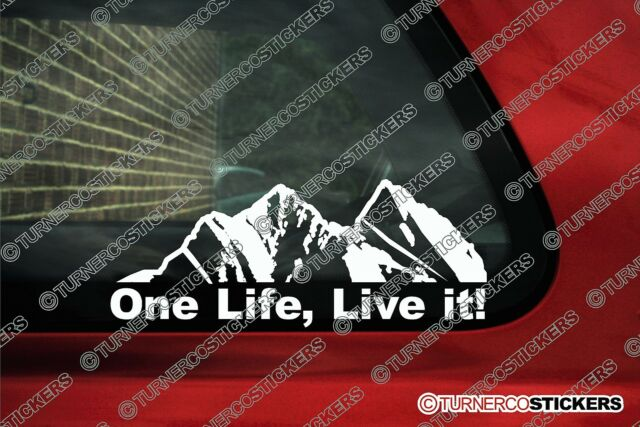 2x ONE LIFE LIVE IT ! offroad , offroader Mountain silhouette stickers sticker