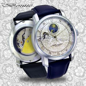 AUTOMATIC-Mechanical-watch-Sun-and-moon-phase-Barocco-silver-dial-43mm