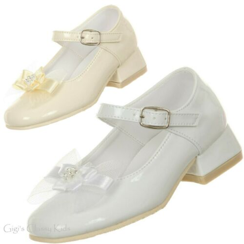 Ivory White Flower Girl Stud Dress Shoes First Communion Wedding Toddler Kids