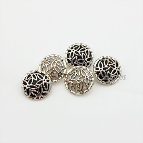 12PCS Gold Black White Round Resin Flower Upscale Shank Buttons 22mm 25mm DIY