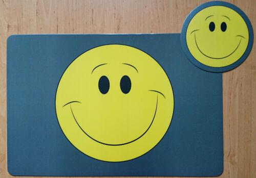 Schreibtischunterlage Smiley 40x60 cm  und Mauspad rund 20 cm Smilies gelb