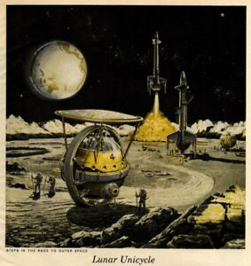 Lunar-Unicycle-Frank-Tinsley-Mid-Century-Art-Print-Suitable-for-Framing