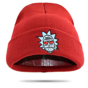Rick-And-Morty-Hat-Embroidered-Winter-Knitted-Beanie-Skull-Cap-Skully-Red