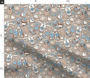 Cookie Penguins Winter Biscuits Gingerbread Fabric Printed by Spoonflower BTY