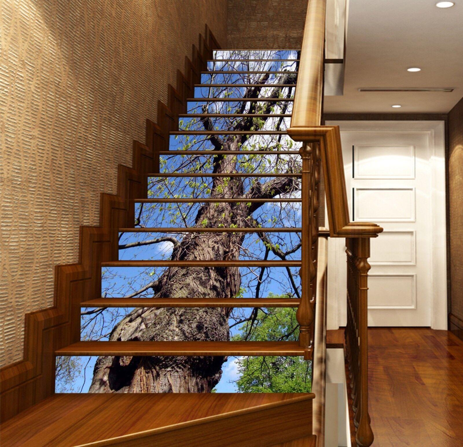 3D Tenacious Baum 1 Stair Risers Dekoration Fototapete Vinyl Aufkleber Tapete DE