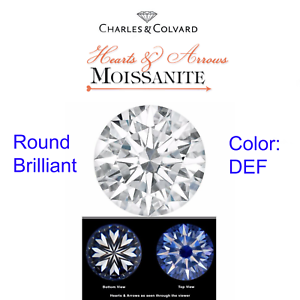 c6c20ddbae5de Details about Charles & Colvard Moissanite® Heart & Arrow Round Forever One  Moissanite DEF