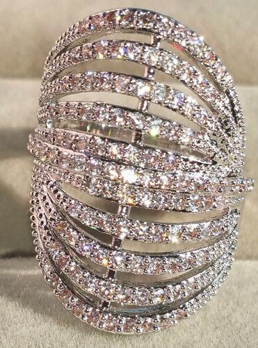 Silver Filled White Topaz Gorgeous Women Fashion Ring Wedding Bridal Jewelry New