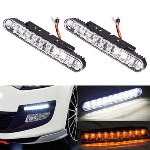 2X30 LED Daytime Running Light DRL Turn Signal Fog Light Indicator White Amber