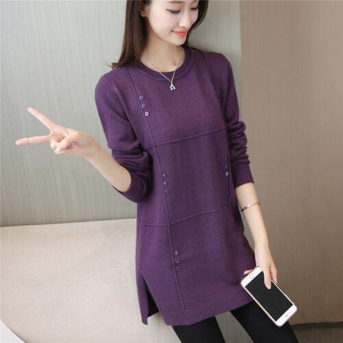 2018 woman/'s Autumn winter Korean elegant Open fork loose knitting sweater dress