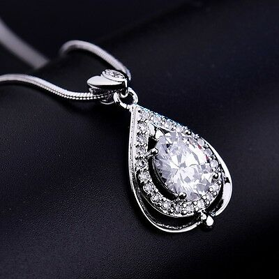 Women Silver Gold Filled Promise Vintage White Sapphire Crystal Pendant Necklace