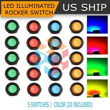 Twidec//8Pcs SPST Round Dot Lighted Rocker Switch Toggle Control for Car Or Boat 20A 12V DC On//Off White LED Light with Pre-soldered Wires KCD2-102N-W-X