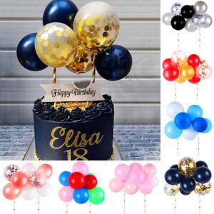10X-Set-5-034-Confetti-Balloon-Birthday-Cake-Topper-Baby-Shower-Wedding-Party-Decor