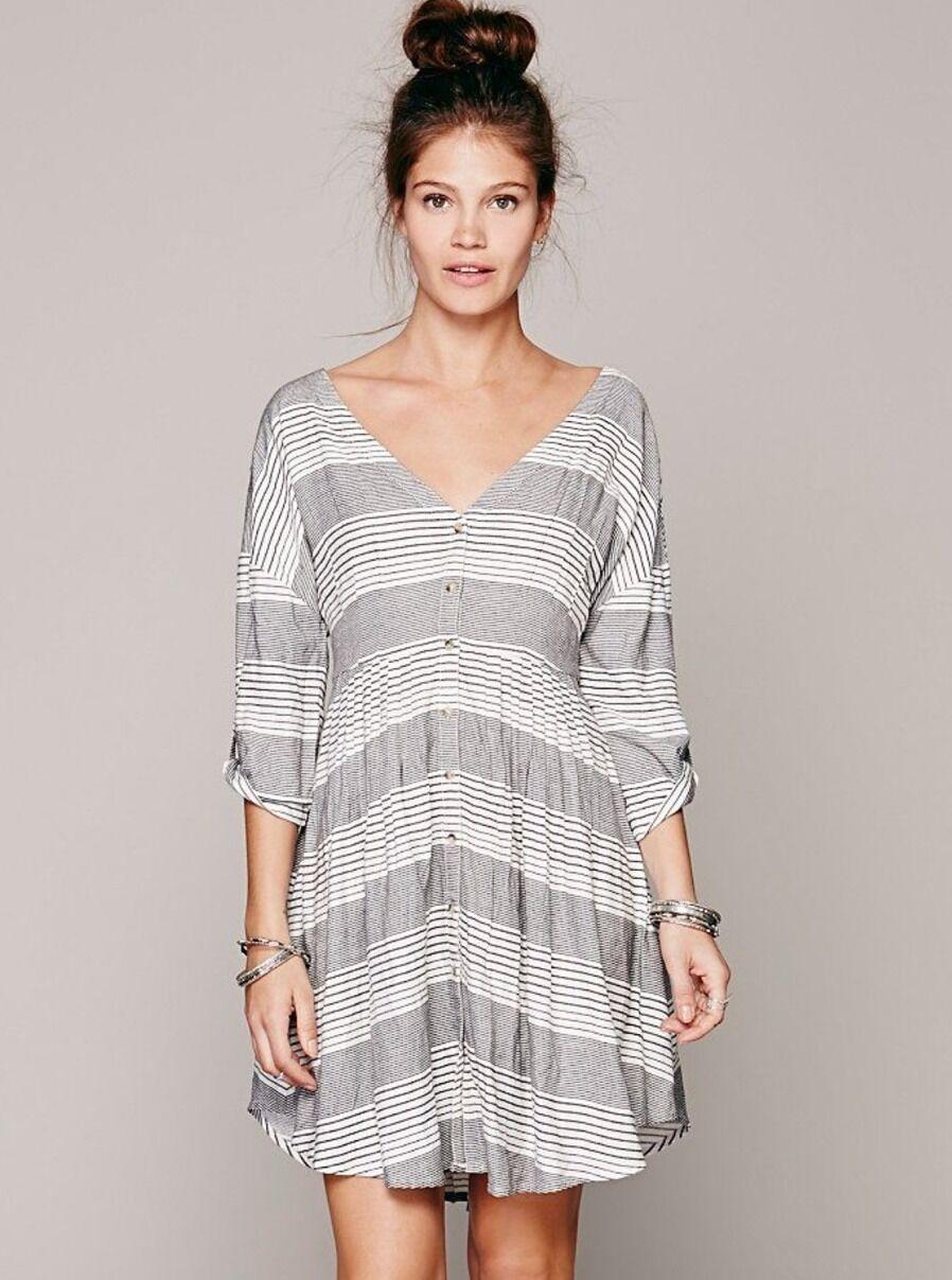 Rare Free People Idle Wild schwarz Weiß Stripe Mini Shirt Dress Größe Small