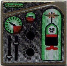 LEGO 4795 - Tile 2 x 2 with Green & Red Ogel Orb & Gauges Pattern - Dark Gray