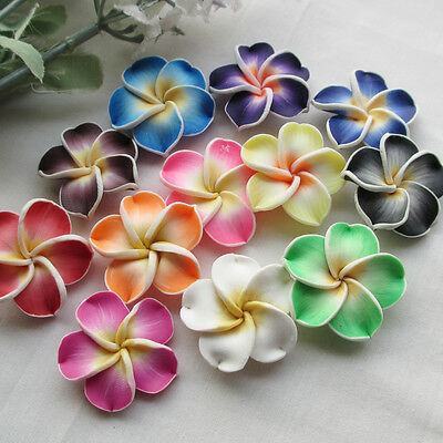 20/100pcs Mix Assorted Colorful Flowers Fimo Polymer Clay Beads 30mm DZ301