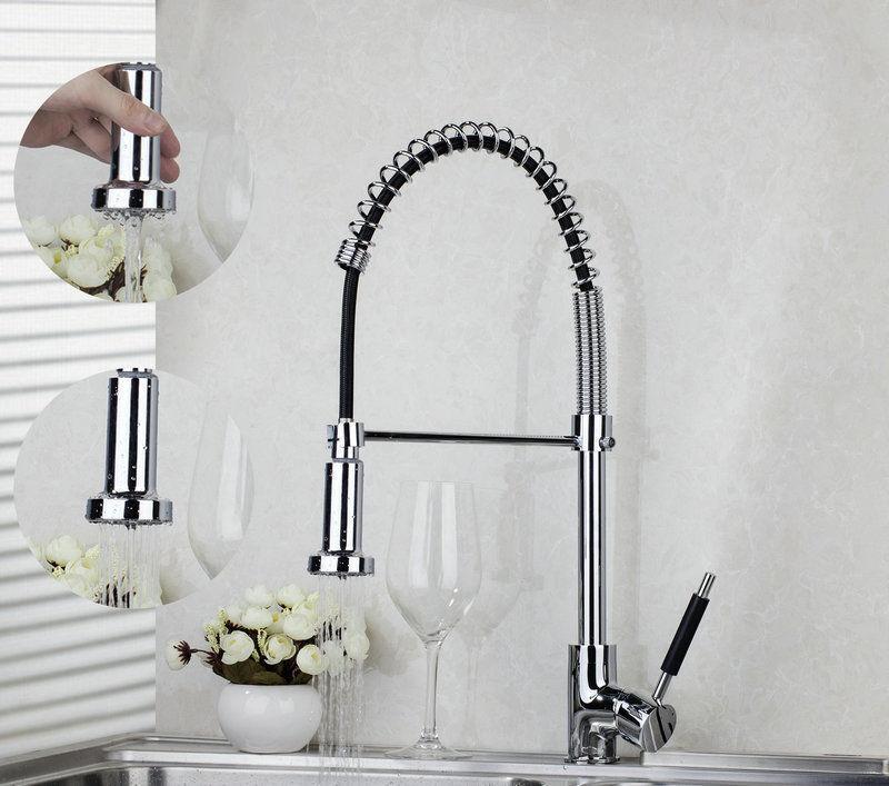 Laiton Cuisine 2 lavabo utiliser pivotant Pull Down Bec mélangeur robinet simple trou robinets