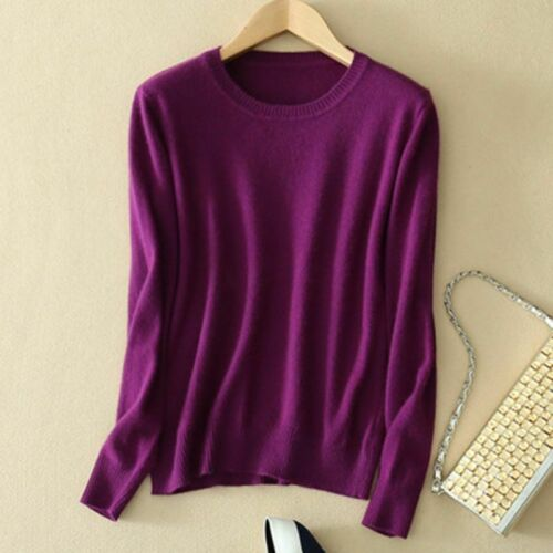 Women Cashmere Loose Pullover Crew Neck Knit Sweater Cardigans Jumpers Top